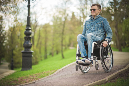young disabled man in wheelchair